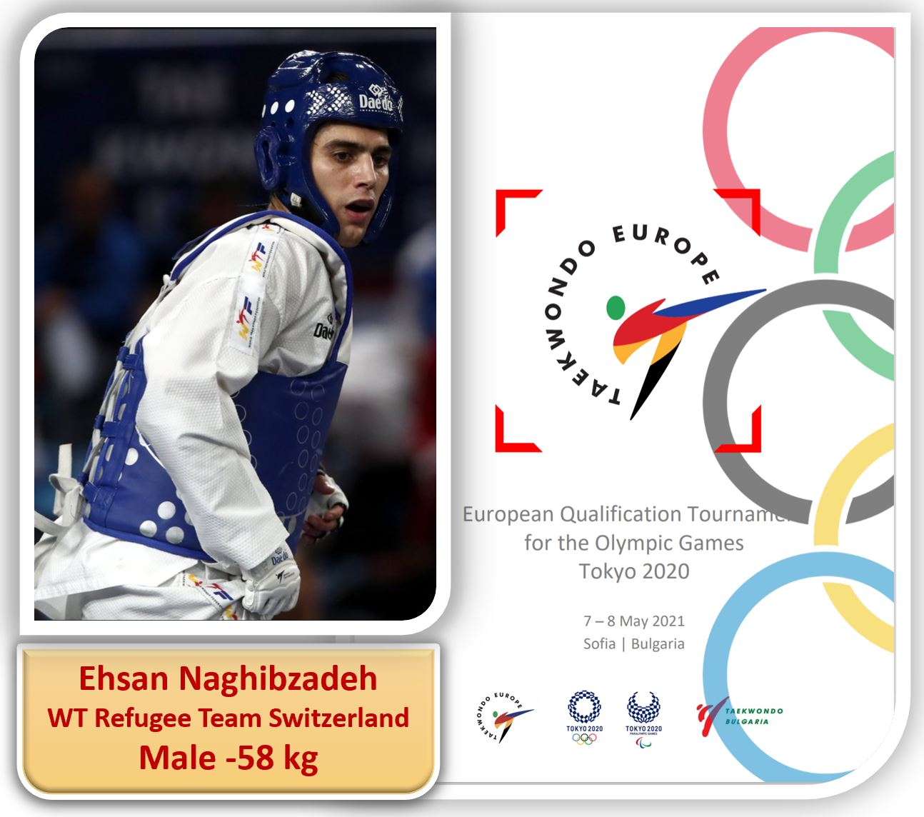 Seyedehsan NAGHIBZADEH – WT Refugee Team Switzerland : European Qualification for Tokyo Olympic Games – Sofia, Bulgaria – 07-08.05.2021