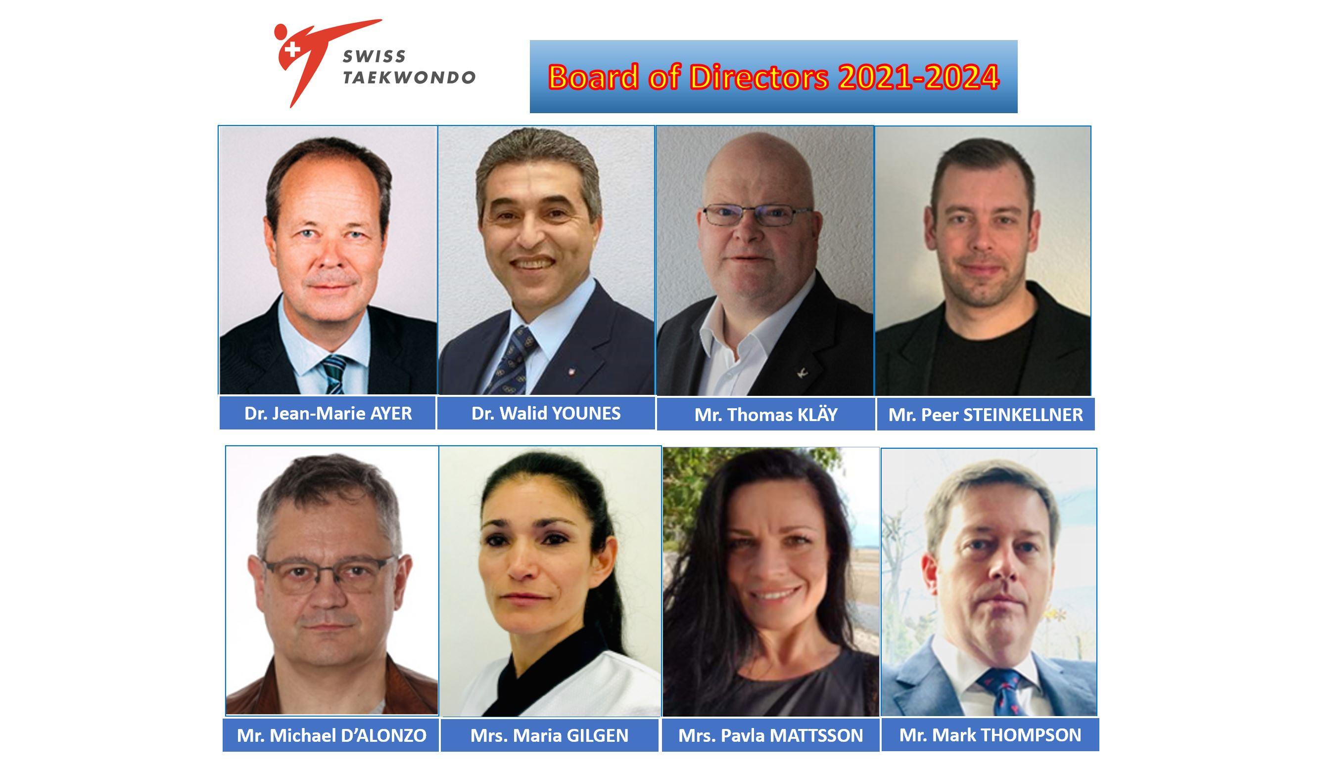 Elelected Swiss Taekwondo Board of Directors – 03 July 2021